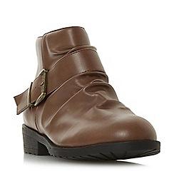 Head Over Heels by Dune - Tan 'Pauline' block heel ankle boots