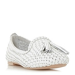 Dune - White leather 'Ginnette' loafers