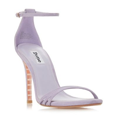 Dune - Lilac suede 'Marabella' mid stiletto heel ankle strap sandals
