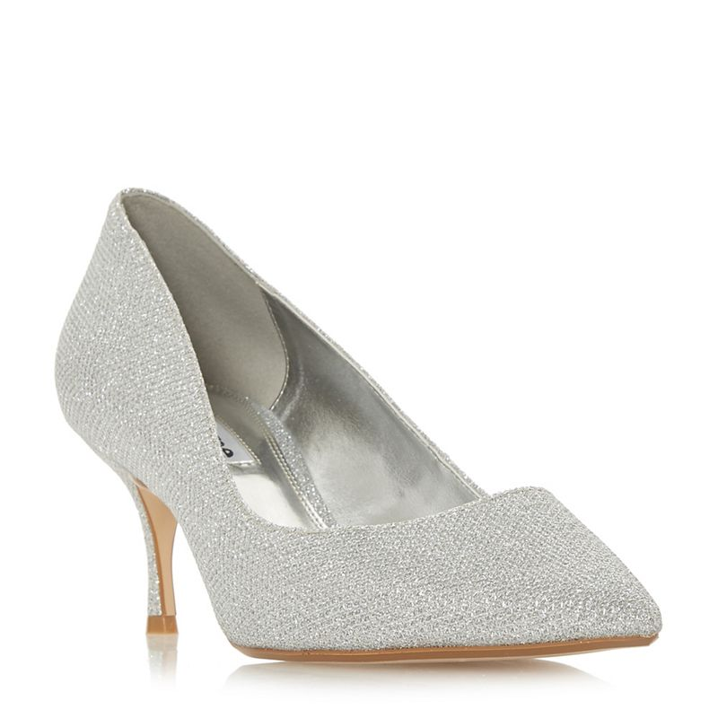 Dune - Silver Astley T Mid Stiletto Heel Court Shoes