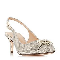 Roland Cartier - Gold 'Daffney' mid kitten heel court shoes