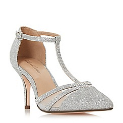 Roland Cartier - Silver 'Dennice' mid stiletto heel t-bar sandals