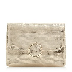 Dune - Gold 'Bayer' foldover clutch bag