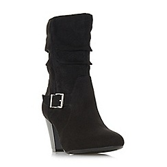 Head Over Heels by Dune - Black 'Renna' high block heel calf boots