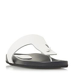 Dune Black - White leather 'Leonarda' peep toe sandals