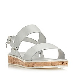 Dune - Silver 'Luminere' mid heel ankle strap sandals