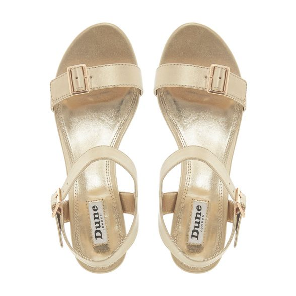 Dune wedge heel Gold sandals ankle 'Karinaa' strap mid wqHSFCw