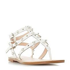 Dune - White leather 'Natascha' t-bar sandals