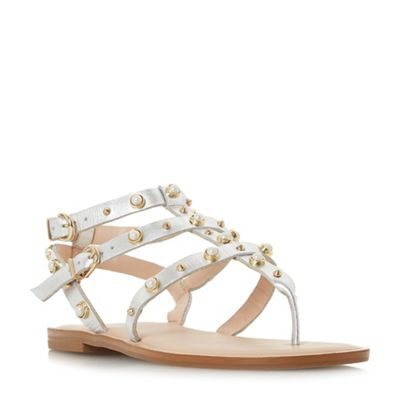 Dune - Silver leather 'Natascha' gladiator sandals