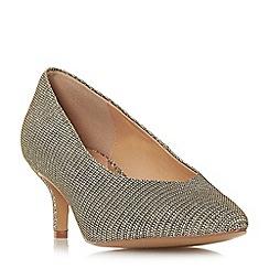 Head Over Heels by Dune - Gold 'Amandi' kitten heel court shoes