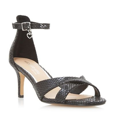 Head Over Heels by Dune - Black 'Mariaana' mid stiletto heel ankle strap sandals