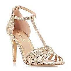 Head Over Heels by Dune - Gold 'Michele' high stiletto heel t-bar sandals
