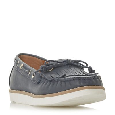 Dune - Navy leather 'Ginney' loafers