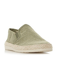 Dune - Khaki 'Ferdinand' espadrilles trim canvas shoes
