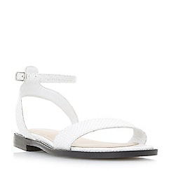 Dune - White leather 'Nance' ankle strap sandals