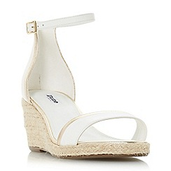 Dune - White leather 'Klarice' mid wedge heel espadrilles
