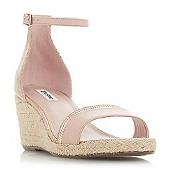 Dune - Light pink leather 'Klarice' mid wedge heel espadrilles