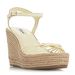 Dune - Yellow leather 'Kikii' high wedge heel ankle strap sandals