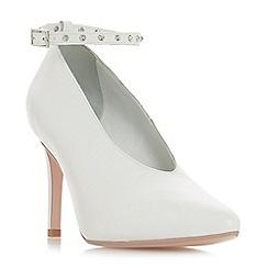 Dune - White leather 'Ara' high stiletto heel court shoes