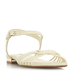 Dune - Yellow leather 'Napa' t-bar sandals