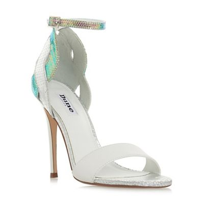 Dune - White leather 'Margaux' high stiletto heel ankle strap sandals