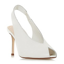Dune - White leather 'Dacorum' mid stiletto heel slingbacks