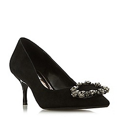 Dune - Black suede 'Beaula' mid stiletto heel court shoes