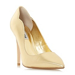 Dune - Gold suede 'Ashe' high stiletto heel court shoes
