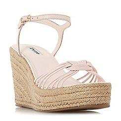 Dune - Light pink leather 'Kikii' high wedge heel ankle strap sandals