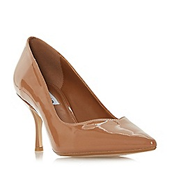 Dune - Almond patent 'Andersonn' mid block heel court shoes