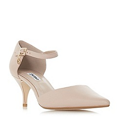 Dune - Light pink leather 'Celeste t' mid kitten heel court shoes