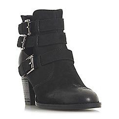 Steve Madden - Black leather 'Yanky Steve Madden' mid block heel ankle boots