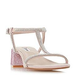 Dune - Light pink 'Maae' mid block heel t-bar sandals