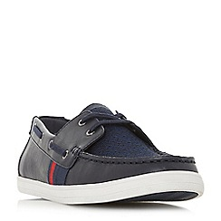 Dune - Navy 'Boita' mixed material boat shoes