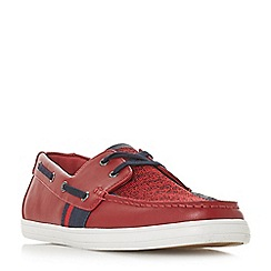 Dune - Red 'Boita' mixed material boat shoes