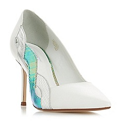 Dune - White leather 'Brylai' mid stiletto heel court shoes