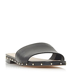 Dune - Black leather 'Lanes' mule slippers