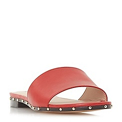Dune - Red leather 'Lanes' mule slippers