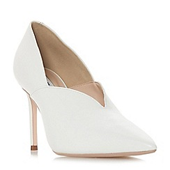Dune - White leather 'Becket' mid stiletto heel court shoes