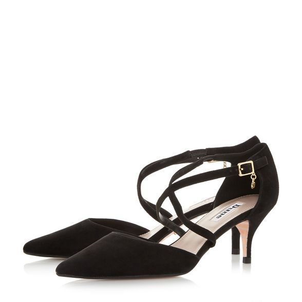 court shoes kitten 'Courtnee' suede Black Dune heel wxXq8HxRY
