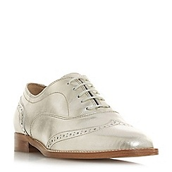 Dune Black - Silver leather 'Flaine' block heel brogues