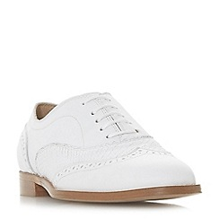 Dune Black - White leather 'Flaine' block heel brogues