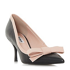 Dune - Black leather 'Besee' mid kitten heel court shoes