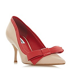 Dune - Natural leather 'Besee' mid kitten heel court shoes
