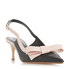 Dune - Black leather 'Clemmiee' mid kitten heel court shoes