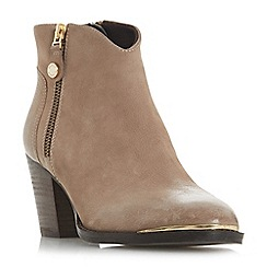 Steve Madden - Taupe leather 'Francy Steve Madden' mid block heel ankle boots