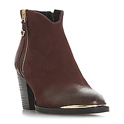 Steve Madden - Maroon leather 'Francy Steve Madden' mid block heel ankle boots