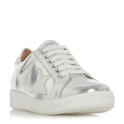 Dune - Silver leather 'Edris' lace up trainers