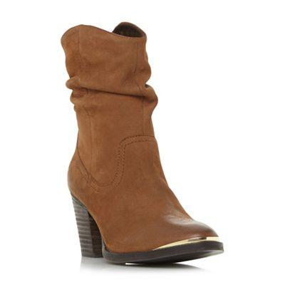 Steve Madden Steve - Brown leather 'Olya Steve Madden Madden' mid block heel ankle boots 0c1a6e