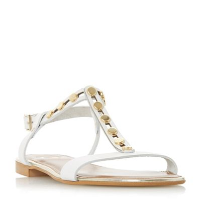 Dune - White leather 'Lexxa' ankle strap sandals